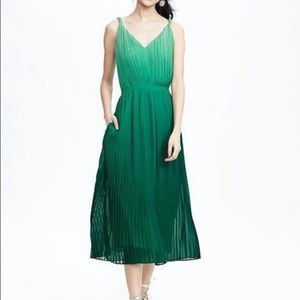 Banana Republic Pleated Green Ombré Dress NWT